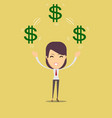 happy woman enjoying of money vector image vector image