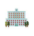 hospital public city building front view cartoon vector image vector image