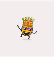 king pineapple cartoon character smile vector image vector image