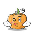 kissing pumpkin character cartoon style vector image vector image