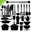 kitchen tools silhouettes vector image