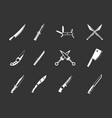 knife icon set grey vector image