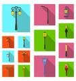 lamp post flat icons in set collection for design vector image