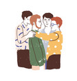 male friends reunion concept young men standing vector image vector image