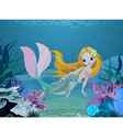 Mermaid and dolphin background vector image vector image
