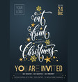 merry christmas party poster banner golden vector image vector image