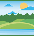 nature landscape mountains with sky sun clouds vector image