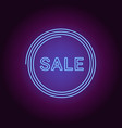 neon banner of blue sale badge vector image