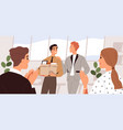 people welcome new team member in office vector image