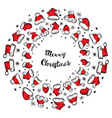 santa claus hats christmas round frame for vector image vector image