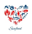 Seafood poster in heart shape symbol vector image vector image
