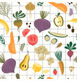 seamless pattern with vegetables and fruit vector image vector image