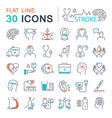 set flat line icons of stroke vector image