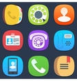 Set of phone and contacts mobile icons in flat vector image