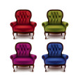 set vintage armchairs vector image