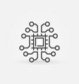 tech brain line icon chip inside brain outline vector image