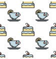 thin line cake and tea cup seamless pattern vector image vector image