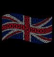 waving united kingdom flag mosaic of diploma icons vector image