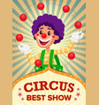 circus clown show poster template party vector image