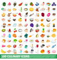 100 culinary icons set isometric 3d style vector image vector image