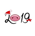 2019 with a pig nose in a hat and a scarf vector image