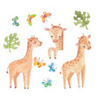 africa watercolor giraffe safari animal vector image vector image