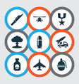 army icons set with poison grenade nuclear vector image