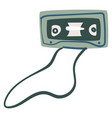 audio cassette with magnetic tape recording music vector image vector image