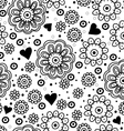 Beautiful floral seamless pattern with hearts vector image vector image