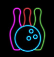 bowling ball and skittles neon lights vector image vector image