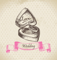 Box with wedding rings hand drawn vector image vector image