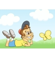 Boy and butterfly on meadow vector image vector image