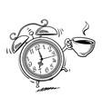 cartoon alarm clock with cup coffee ringing vector image