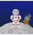 cartoon boy astronaut standing on moon vector image vector image