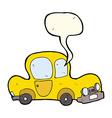 cartoon car with speech bubble vector image vector image