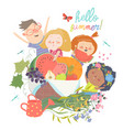 cartoon children with flowers and fruits hello vector image vector image