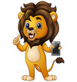 cartoon lion giving thumbs up with holding a phone vector image vector image