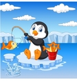 Cartoon penguin fishing on the ice vector image
