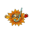 Cartoon sun in diving mask with starfish vector image