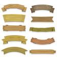 cartoon wood banners and ribbons vector image vector image