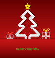 Christmas card with folded white paper tree vector image vector image