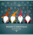 christmas card with gnomes and snowflakes vector image