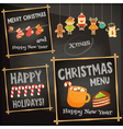 christmas characters on chalkboard vector image