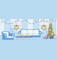 christmas holiday home interior decor flat vector image