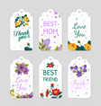 creative gift tags collection floral card vector image