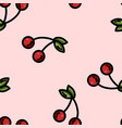 cute cartoon flat style cherry seamless pattern vector image vector image