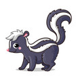 cute little skunk on a white background in cartoon vector image vector image