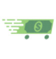 dollar wagon halftone dotted icon with fast rush vector image