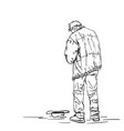 drawing man old beggar is begging with hat on vector image vector image