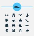 dress icons set with pajamas trousers socks and vector image vector image